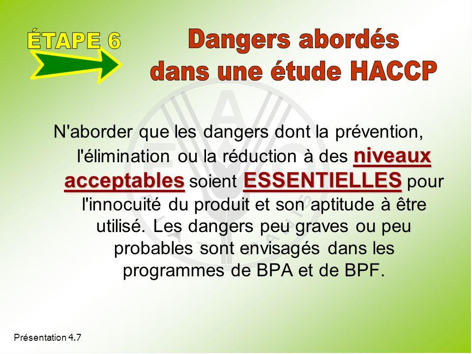 ÉTAPE 6 Dangers abordés dans une étude HACCP