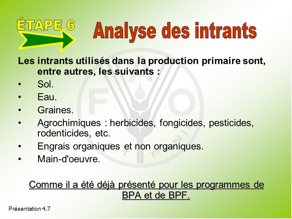 Comme il a été déjà présenté pour les programmes de BPA et de BPF.