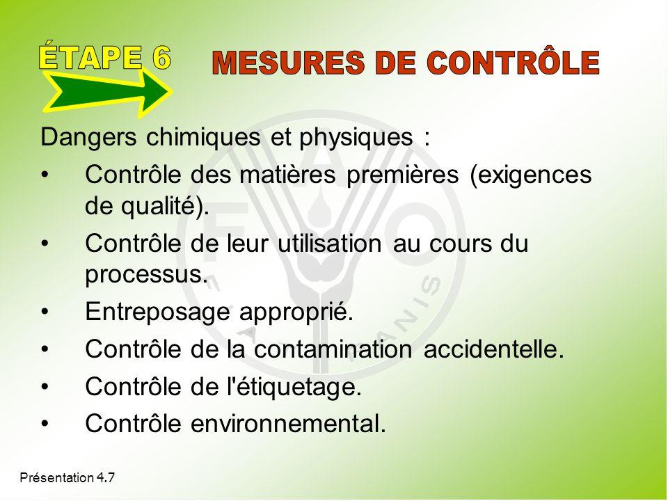 ÉTAPE 6 MESURES DE CONTRÔLE Dangers chimiques et physiques :