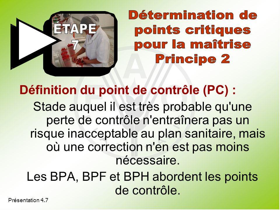 Les BPA, BPF et BPH abordent les points de contrôle.