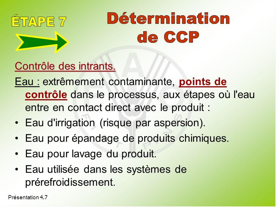 Détermination ÉTAPE 7 de CCP Contrôle des intrants.
