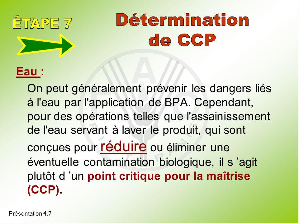 Détermination ÉTAPE 7 de CCP Eau :