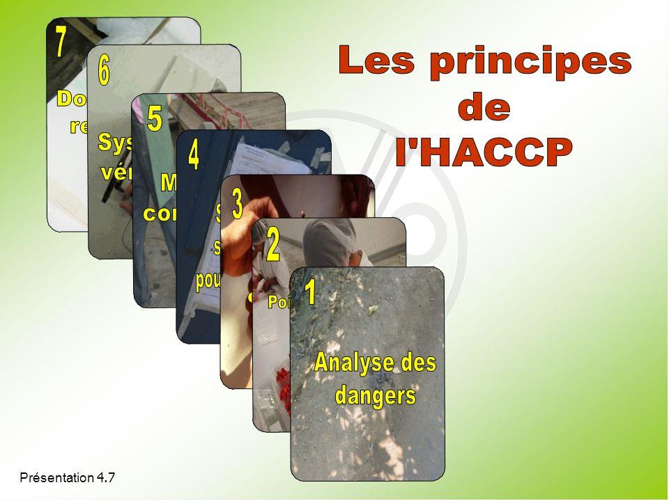 7 Les principes 6 de l HACCP 5 4 3 2 1 Dossiers et registres