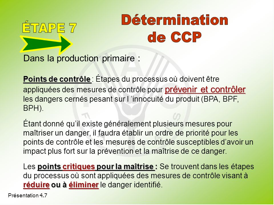 Détermination ÉTAPE 7 de CCP Dans la production primaire :