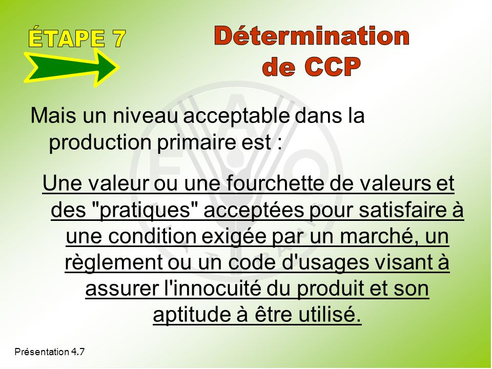 ÉTAPE 7 Détermination de CCP