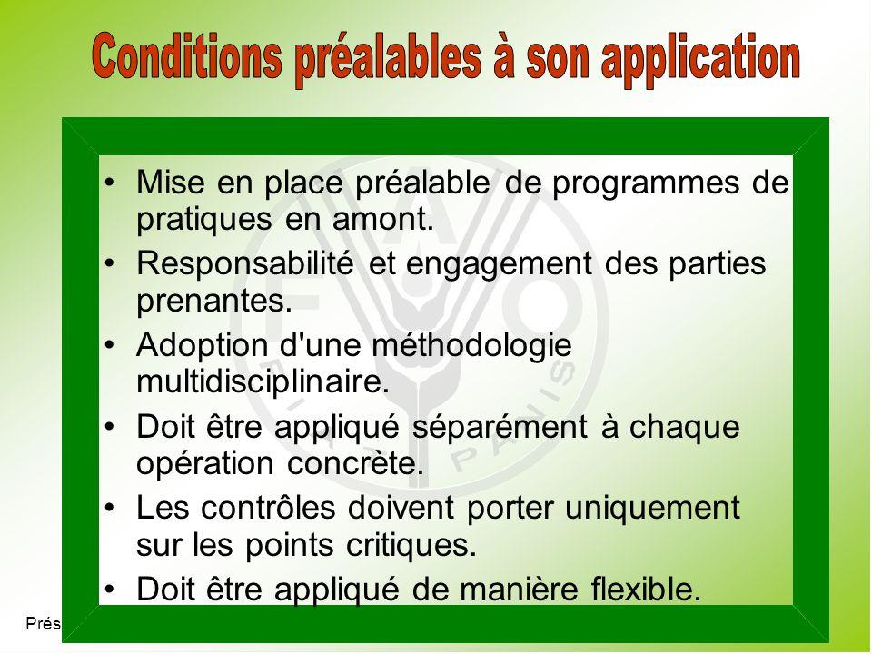 Conditions préalables à son application