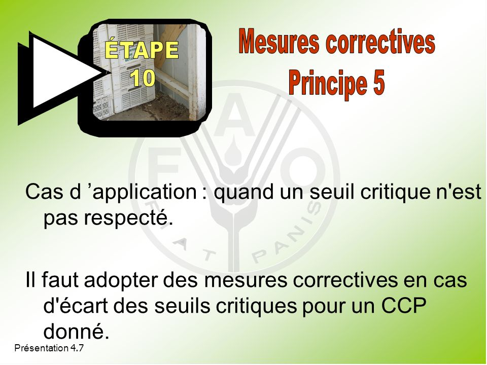 Mesures correctives Principe 5