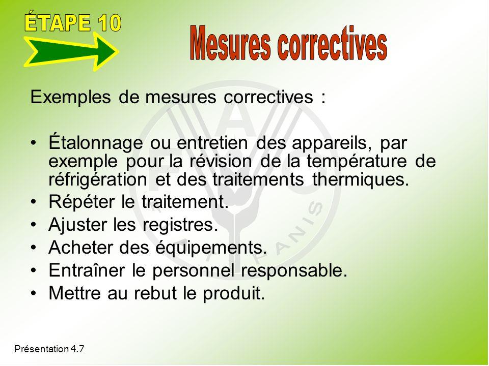 ÉTAPE 10 Mesures correctives Exemples de mesures correctives :