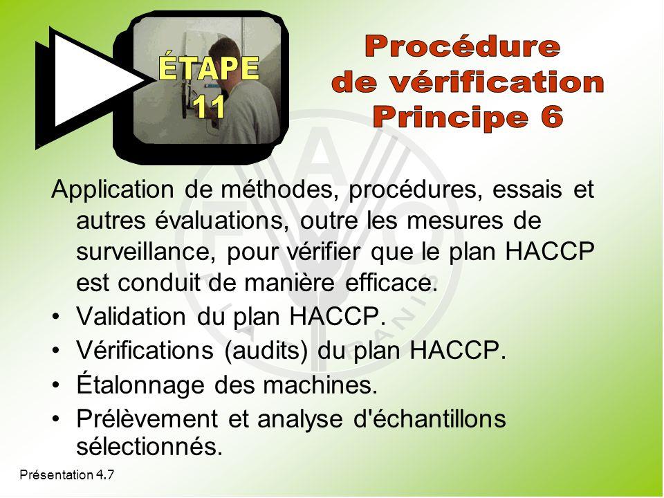 Procédure de vérification Principe 6