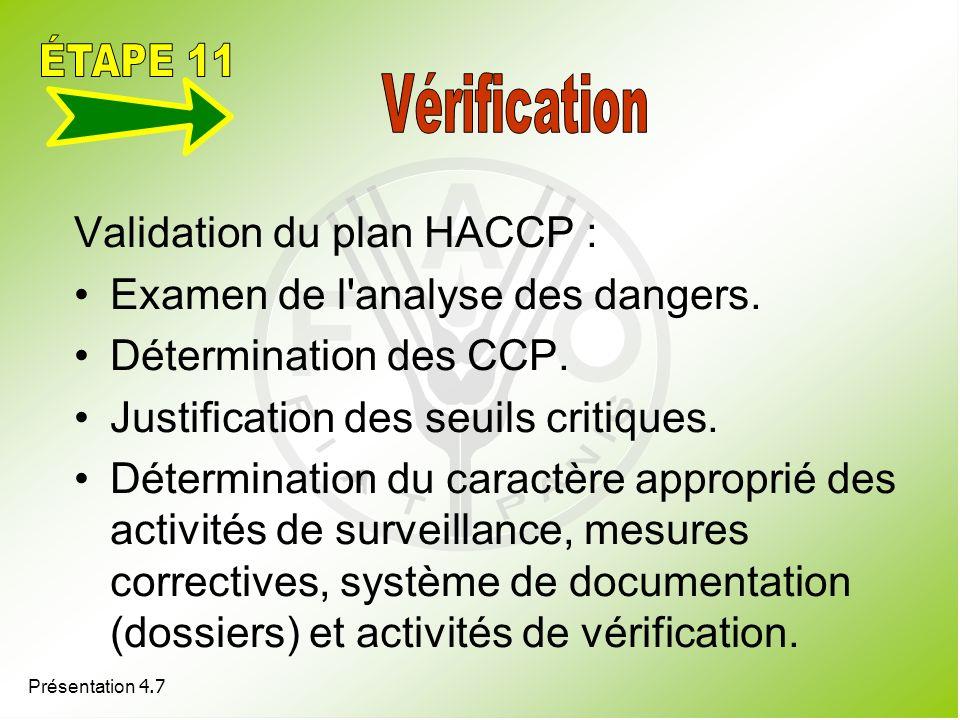 ÉTAPE 11 Validation du plan HACCP : Examen de l analyse des dangers.