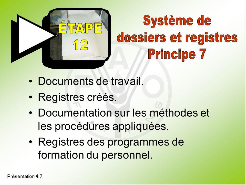 Système de dossiers et registres Principe 7 Documents de travail.