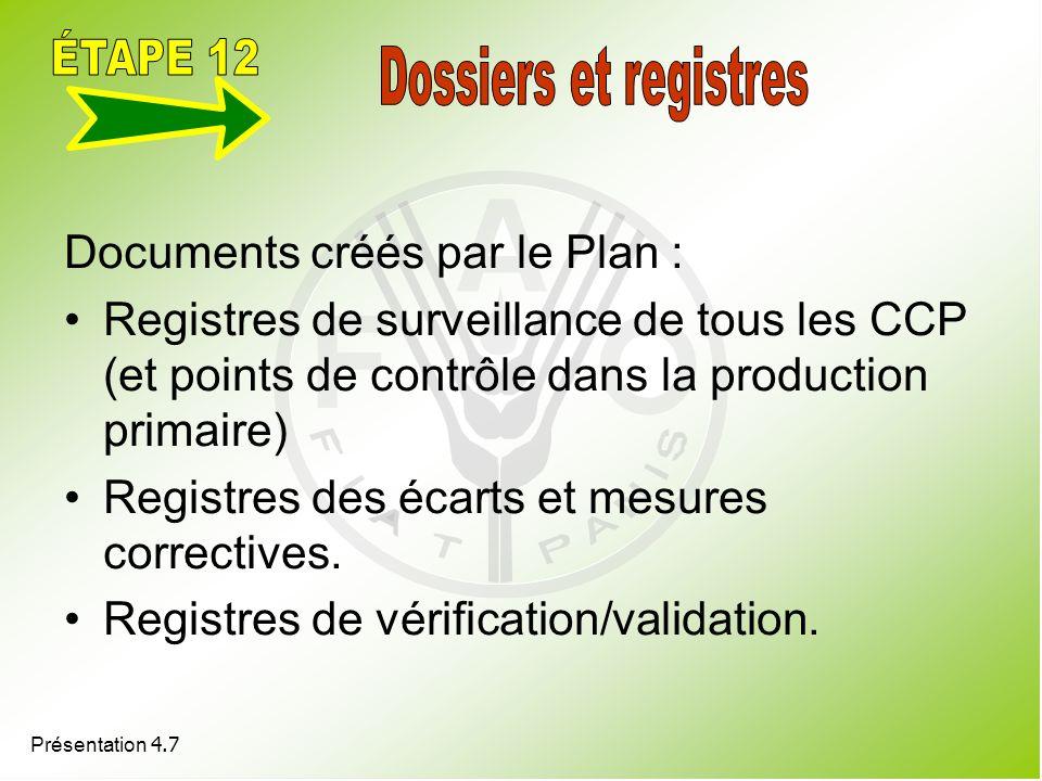 ÉTAPE 12 Dossiers et registres Documents créés par le Plan :