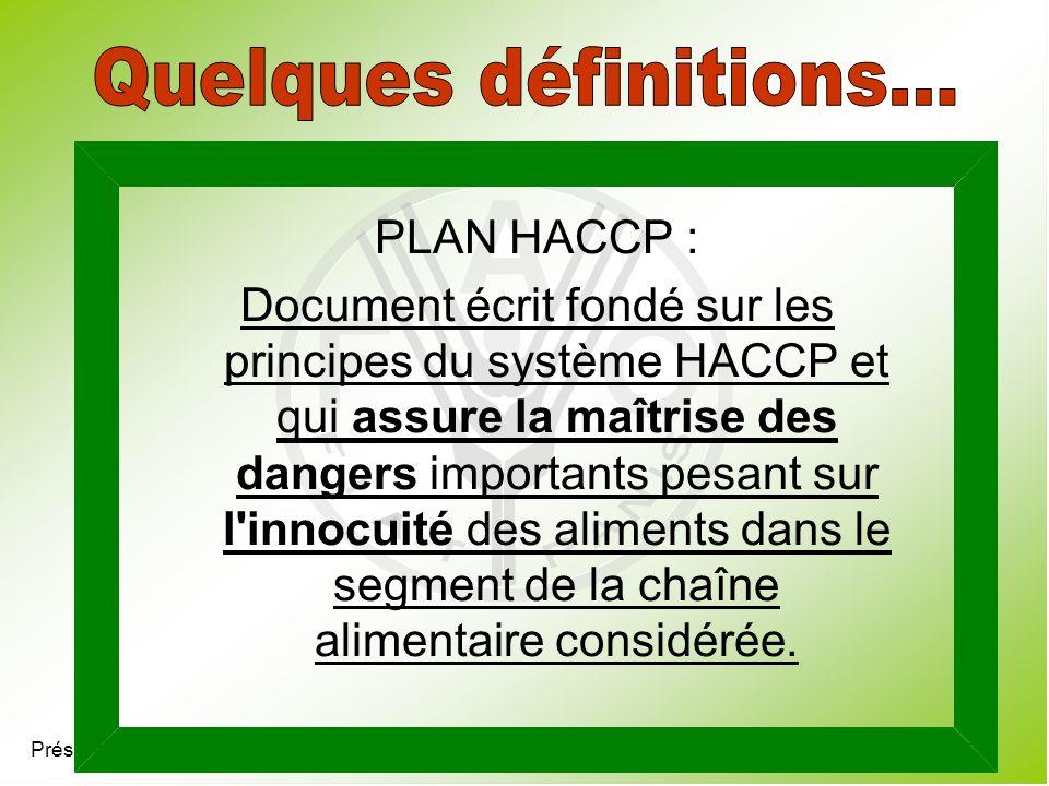 Quelques définitions... PLAN HACCP :