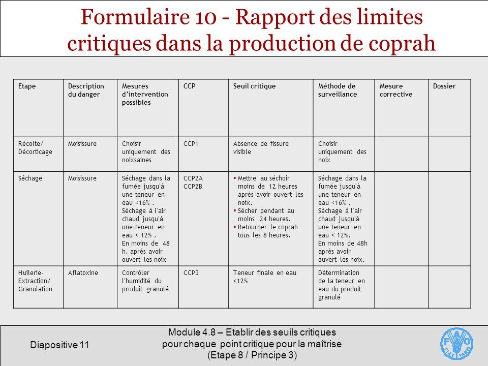 Formulaire 10 - Rapport des limites critiques dans la production de coprah