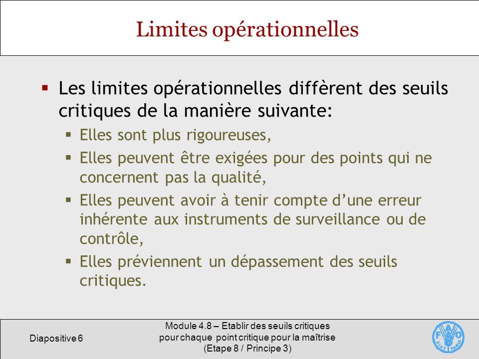 Limites opérationnelles