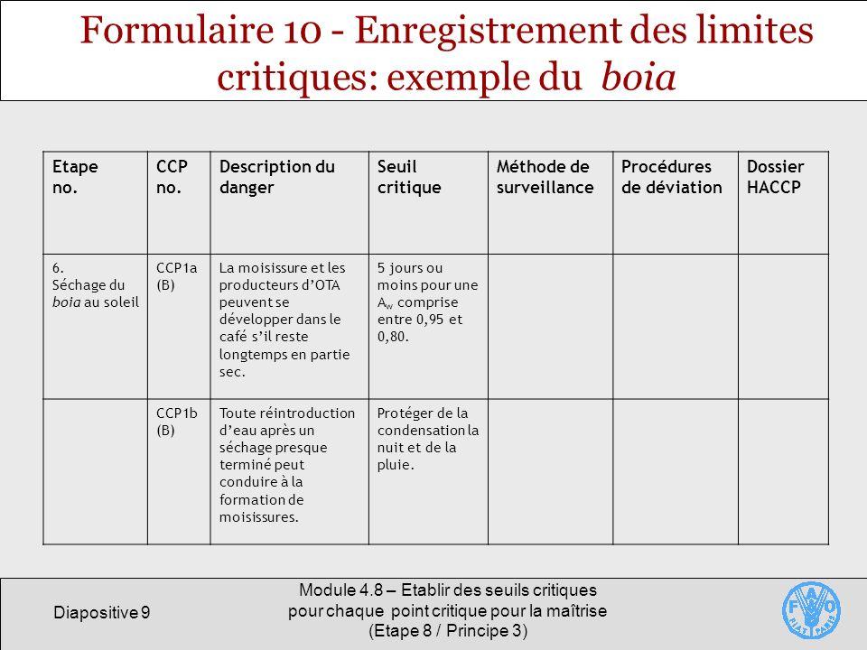 Formulaire 10 - Enregistrement des limites critiques: exemple du boia