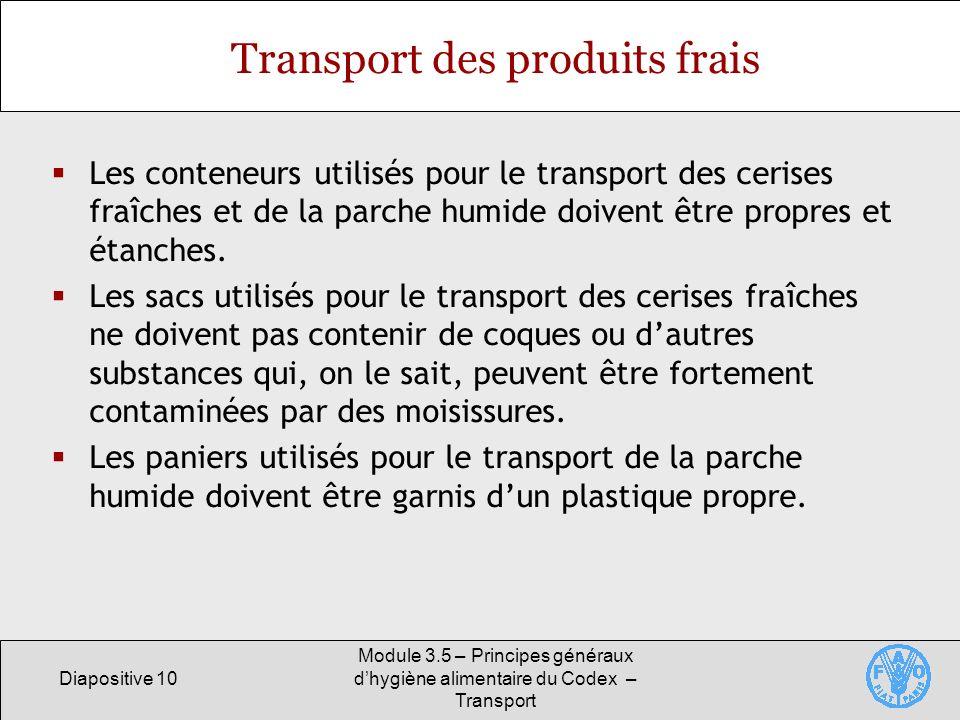 Transport des produits frais