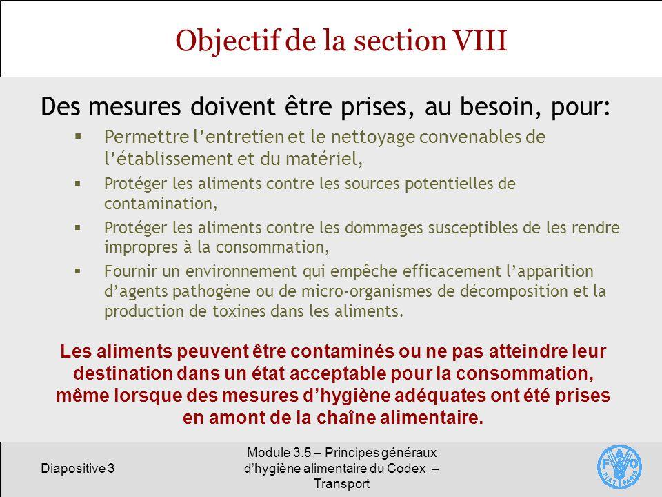 Objectif de la section VIII