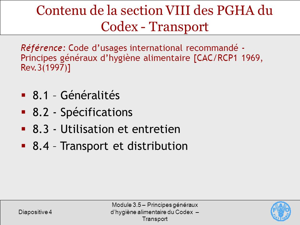 Contenu de la section VIII des PGHA du Codex - Transport
