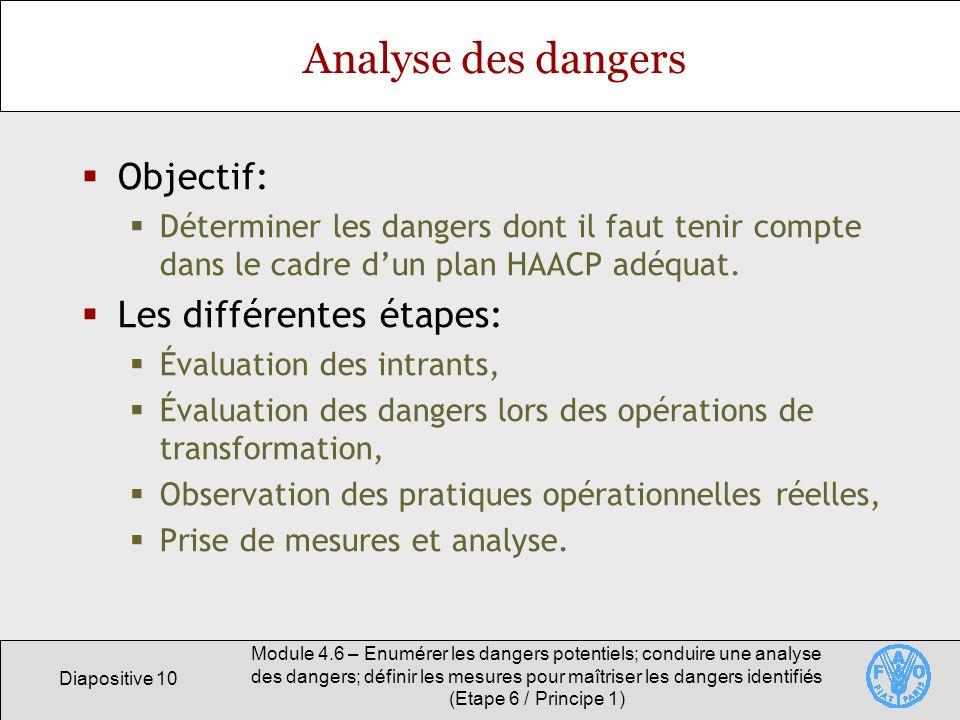 Analyse des dangers Objectif: Les différentes étapes: