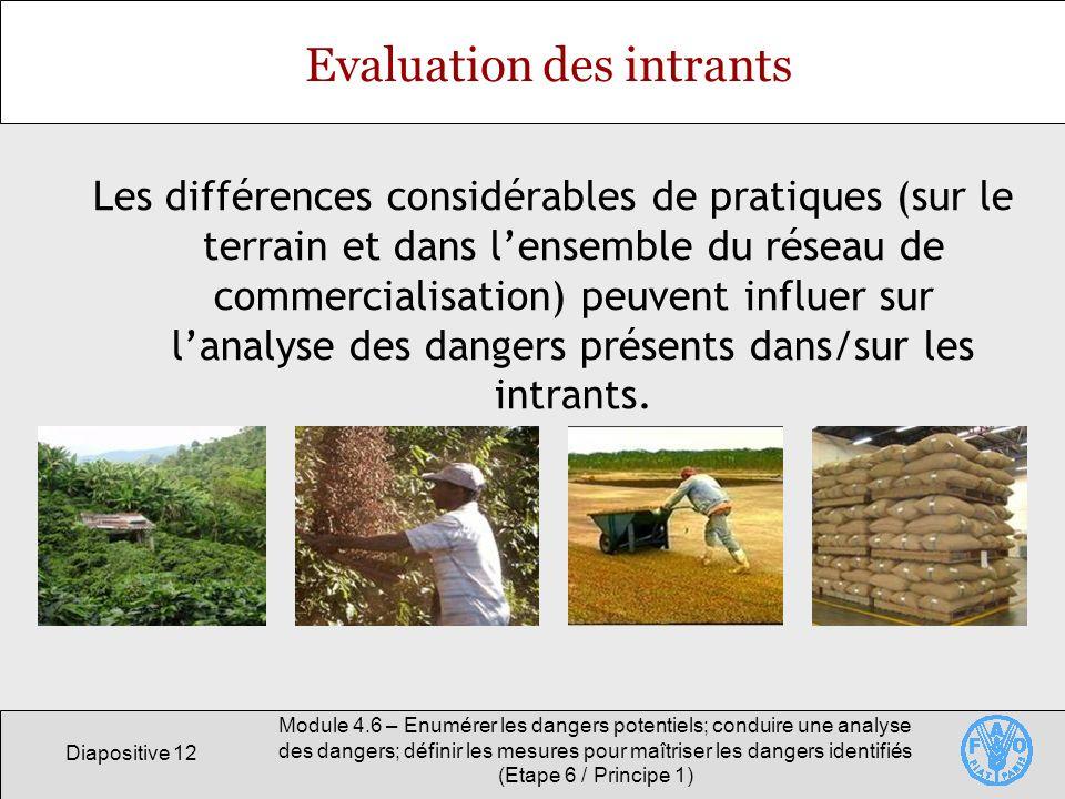 Evaluation des intrants