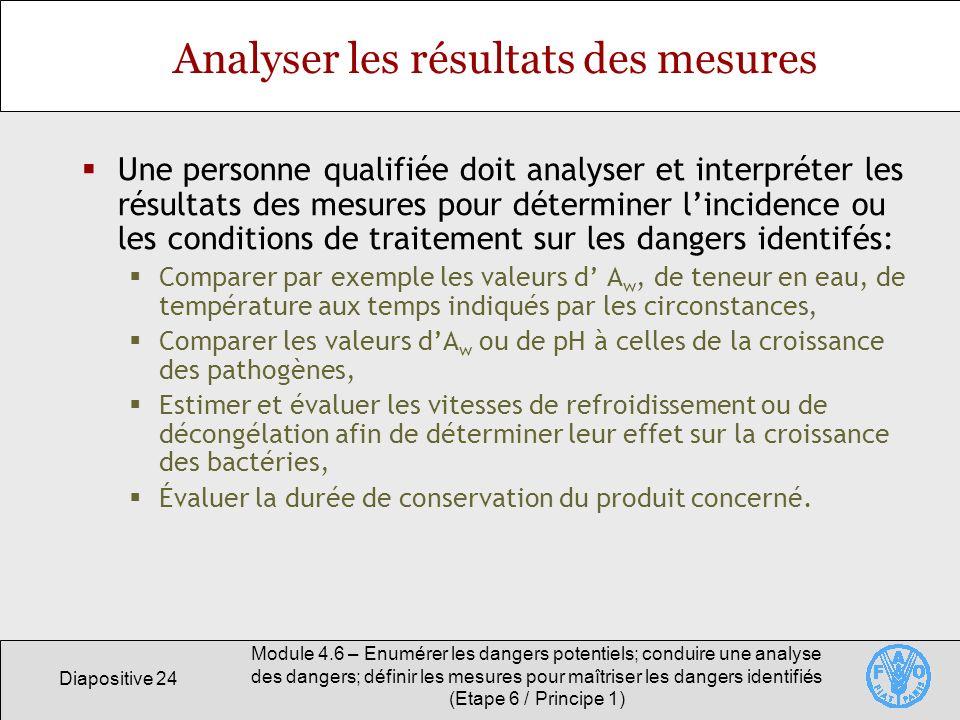 Analyser les résultats des mesures