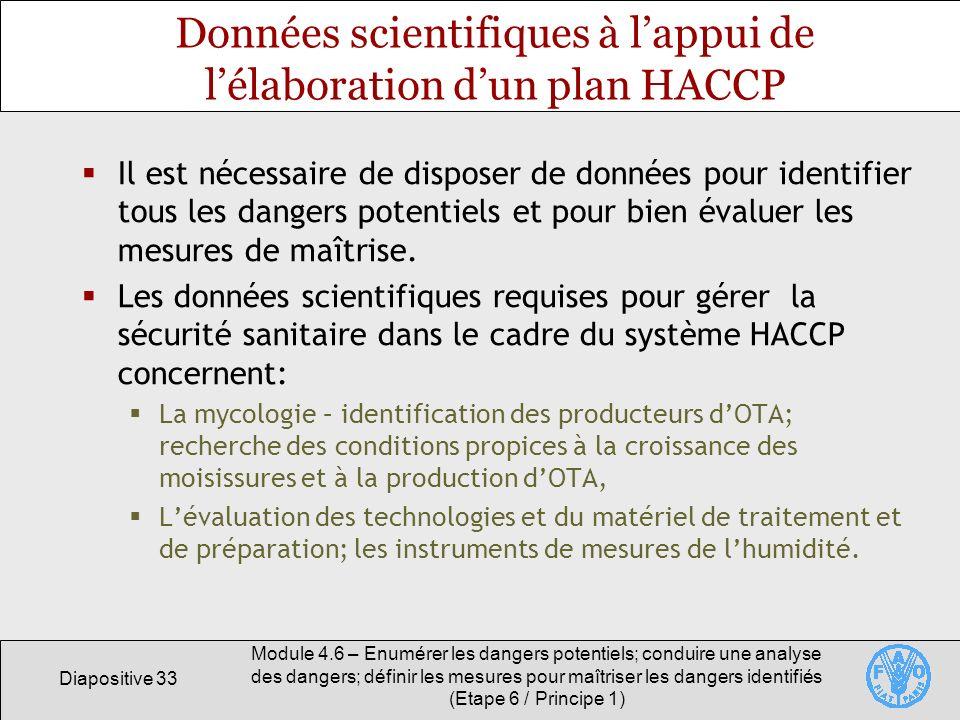 Données scientifiques à l'appui de l'élaboration d'un plan HACCP
