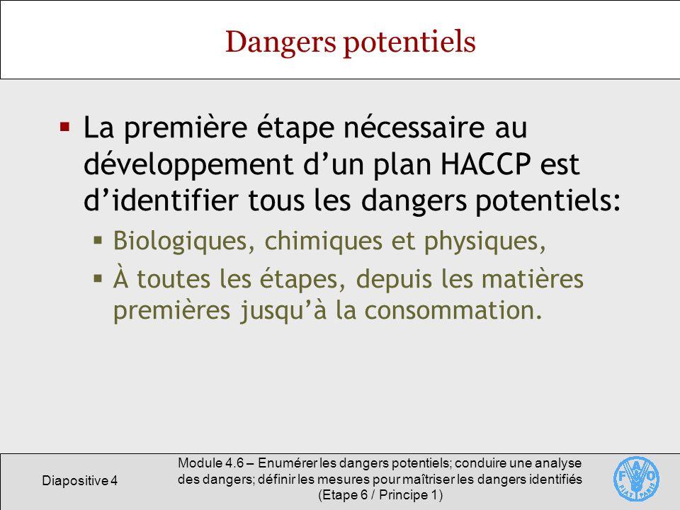 Dangers potentiels La première étape nécessaire au développement d'un plan HACCP est d'identifier tous les dangers potentiels: