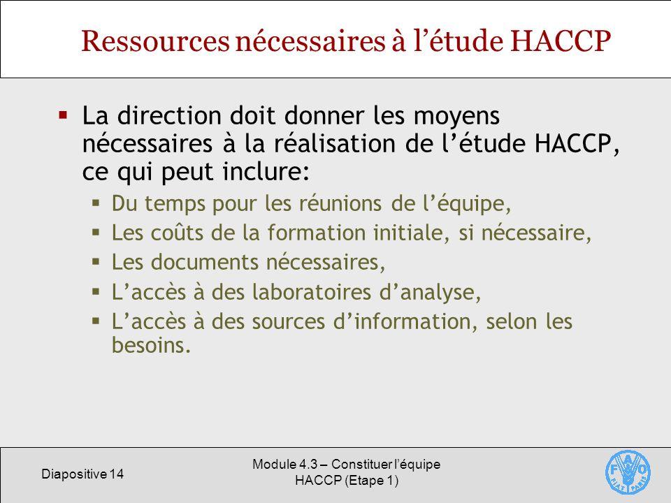 Ressources nécessaires à l'étude HACCP