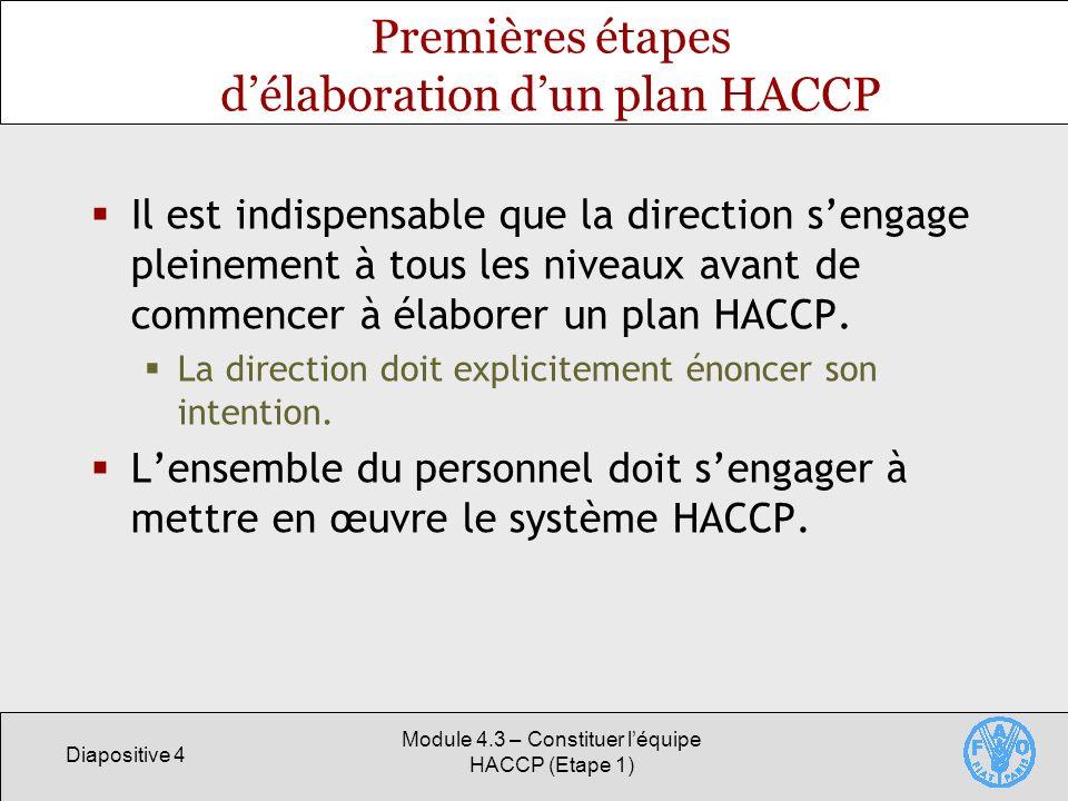 Premières étapes d'élaboration d'un plan HACCP