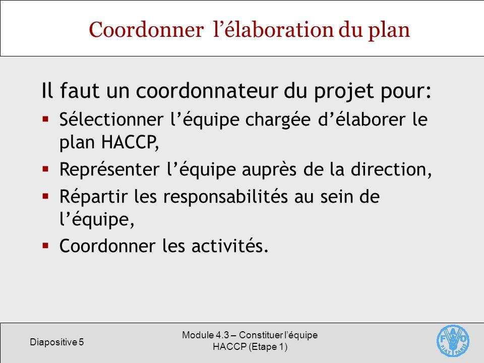 Coordonner l'élaboration du plan