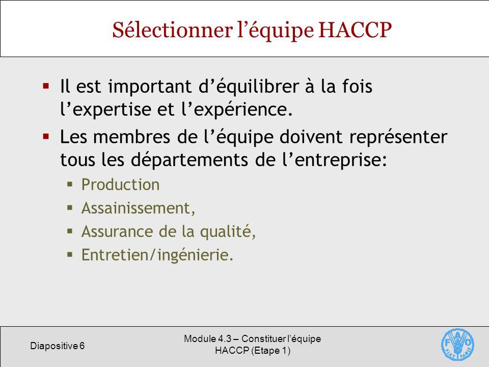 Sélectionner l'équipe HACCP