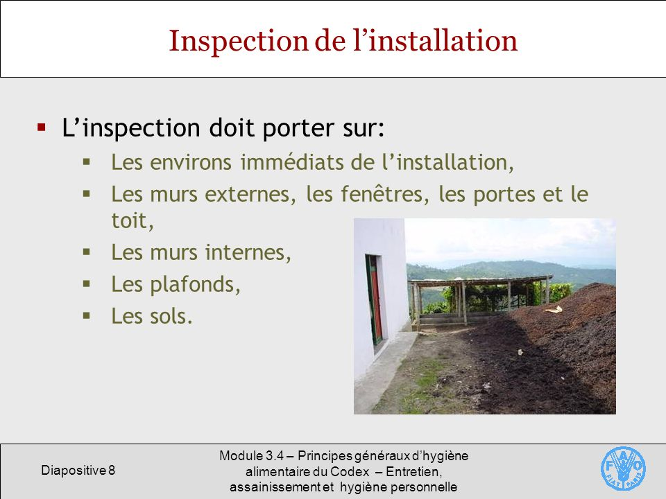 Inspection de l'installation