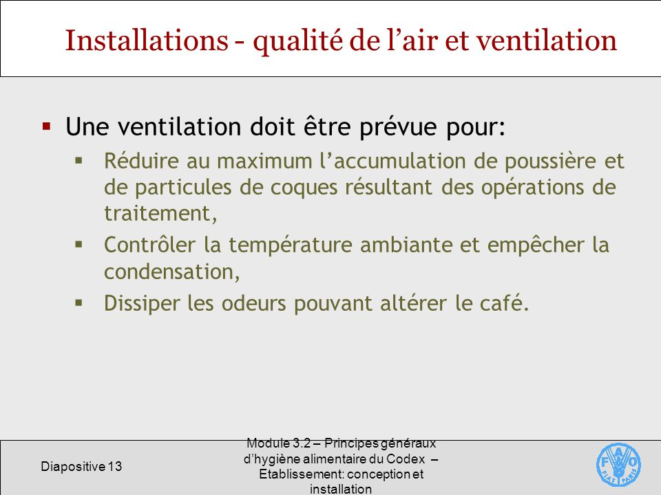 Installations - qualité de l'air et ventilation