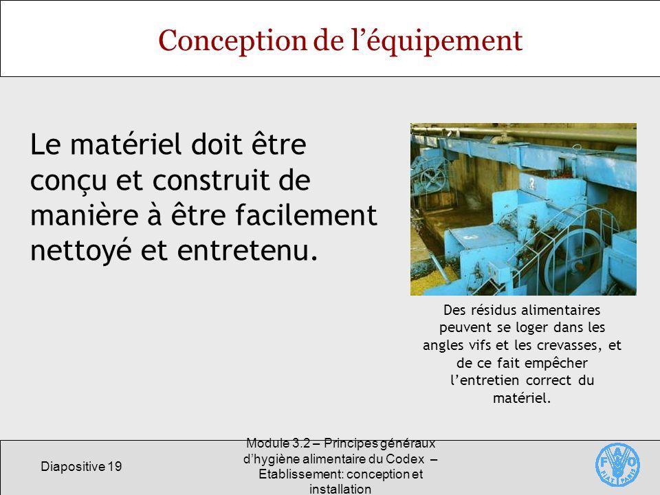 Conception de l'équipement