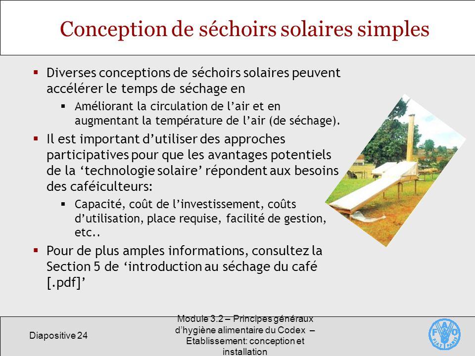 Conception de séchoirs solaires simples