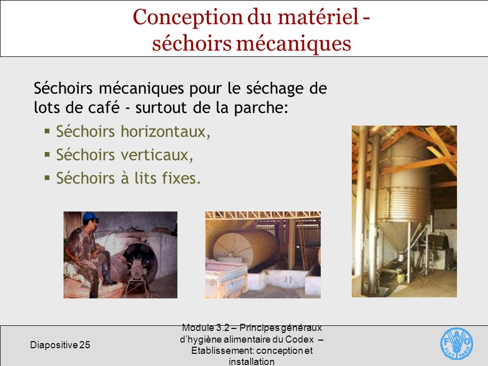 Conception du matériel - séchoirs mécaniques