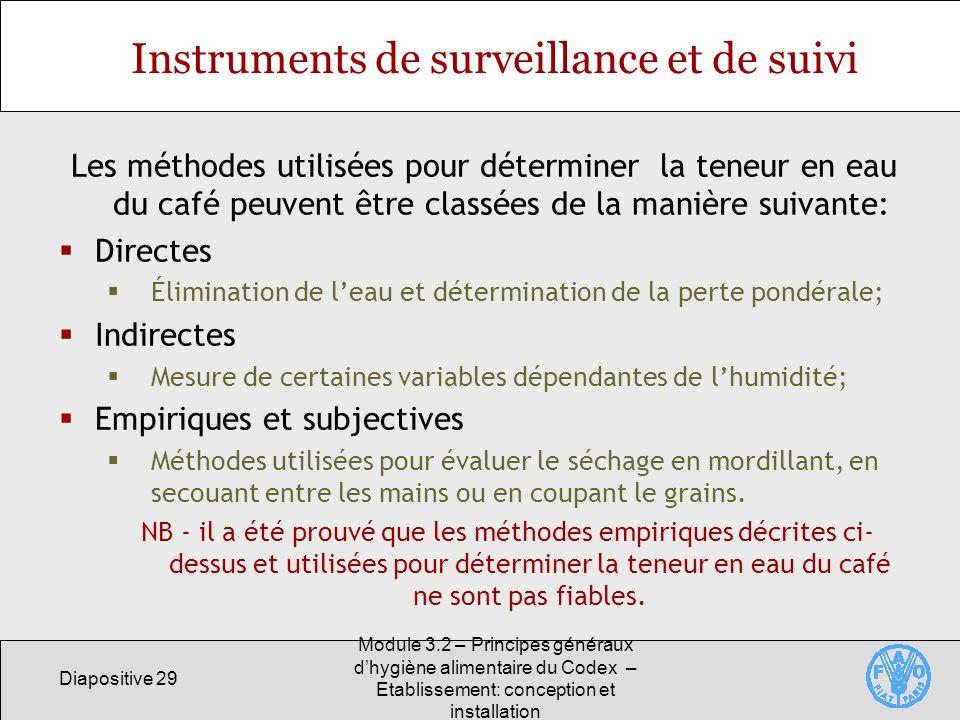 Instruments de surveillance et de suivi