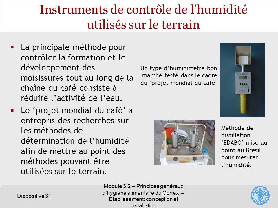 Instruments de contrôle de l'humidité utilisés sur le terrain