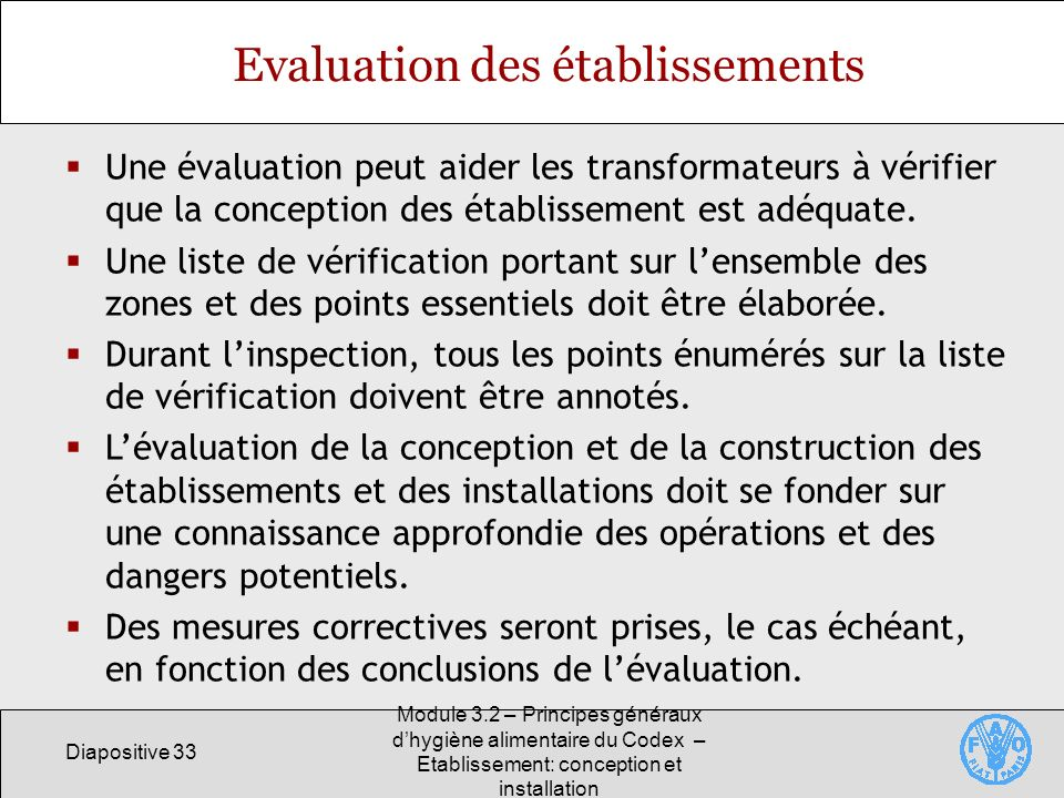 Evaluation des établissements