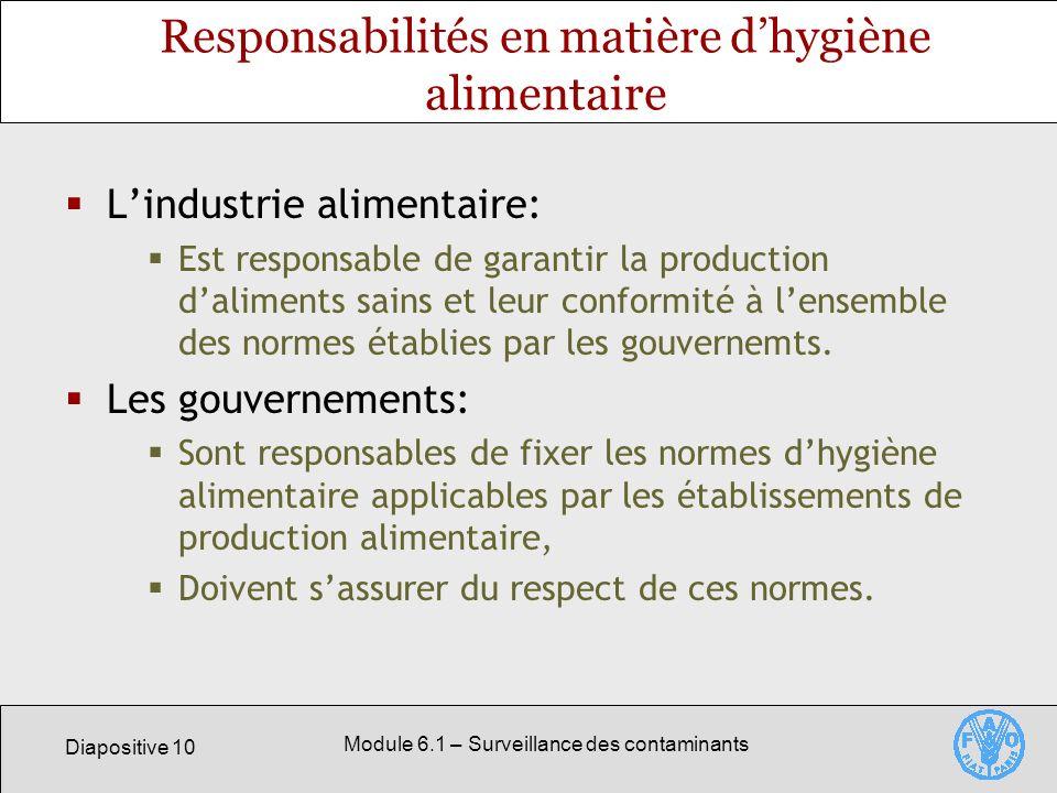 Responsabilités en matière d'hygiène alimentaire