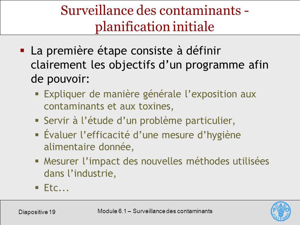 Surveillance des contaminants - planification initiale