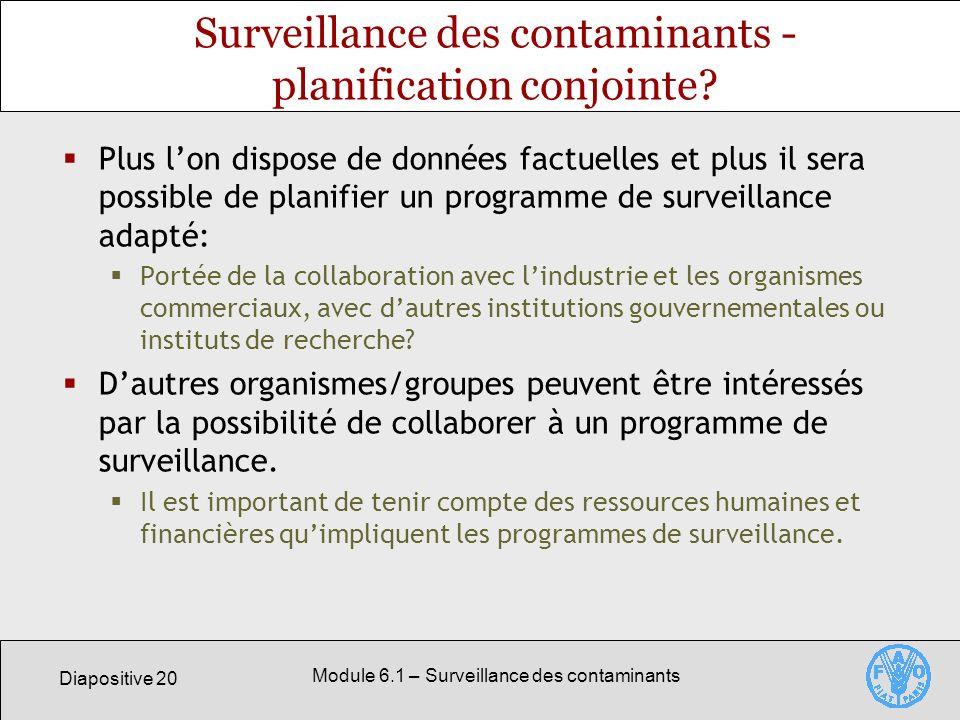 Surveillance des contaminants - planification conjointe