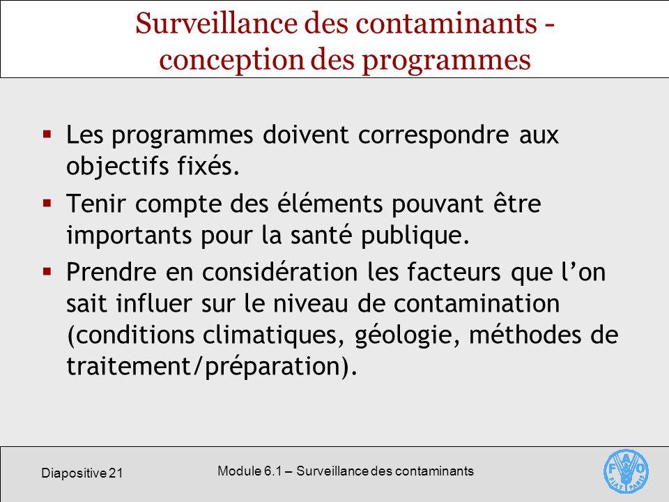 Surveillance des contaminants - conception des programmes