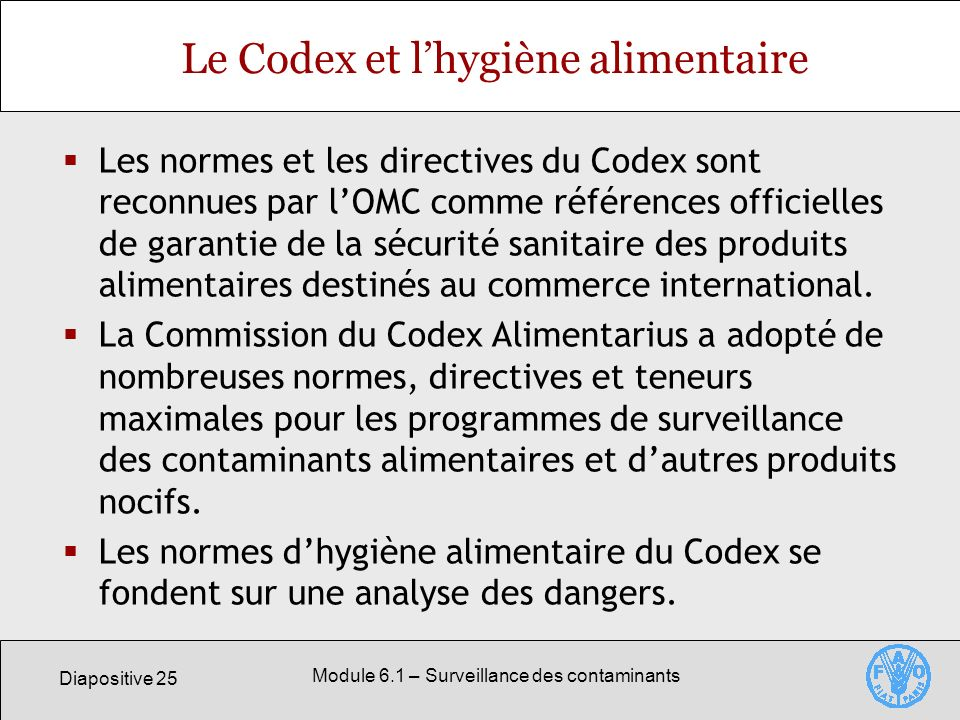 Le Codex et l'hygiène alimentaire