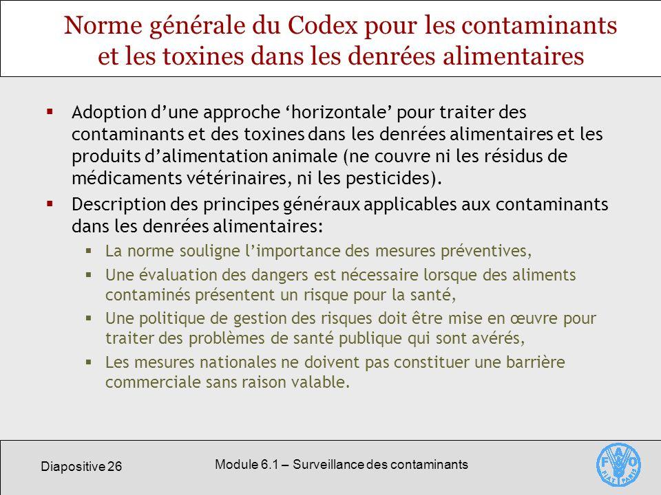 Module 6.1 – Surveillance des contaminants