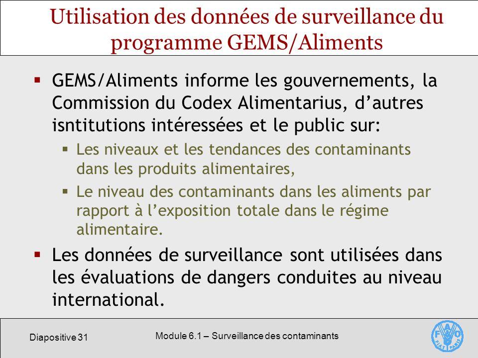 Utilisation des données de surveillance du programme GEMS/Aliments