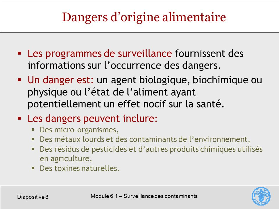 Dangers d'origine alimentaire