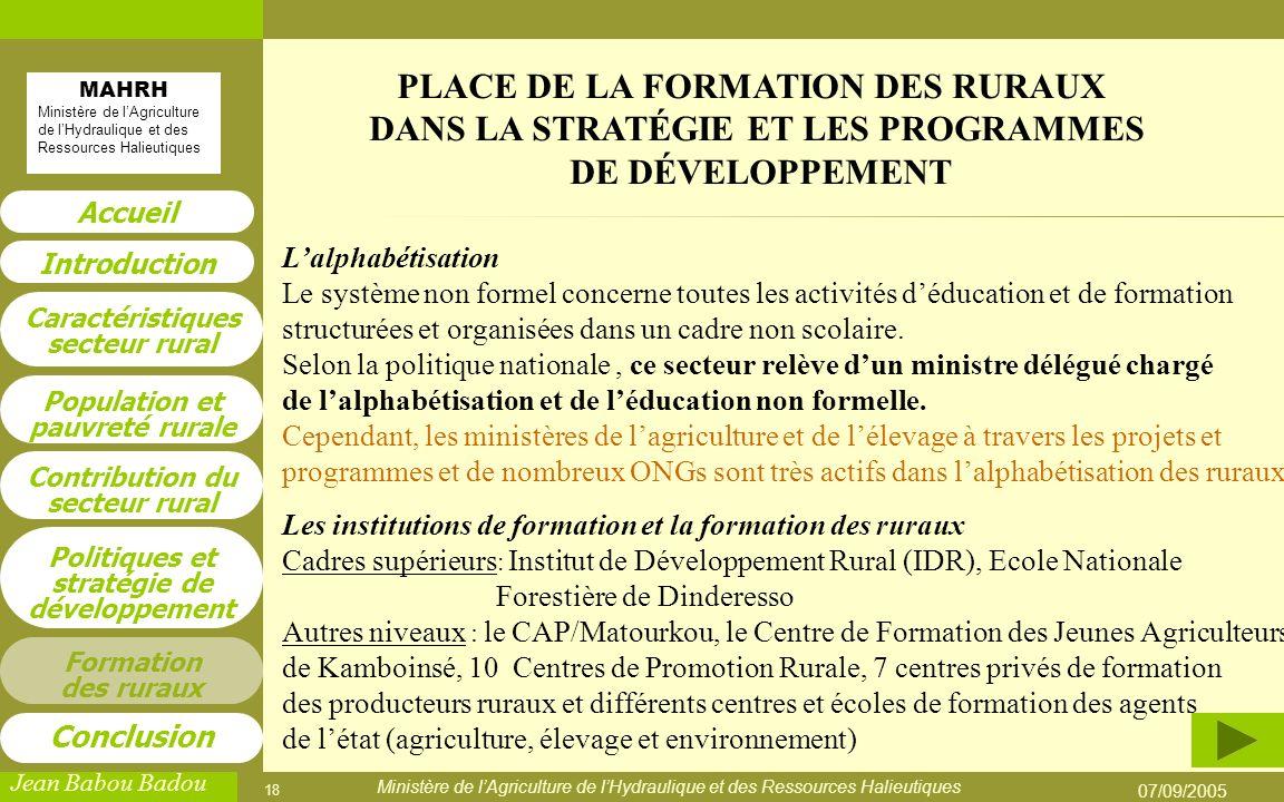 PLACE DE LA FORMATION DES RURAUX DANS LA STRATÉGIE ET LES PROGRAMMES