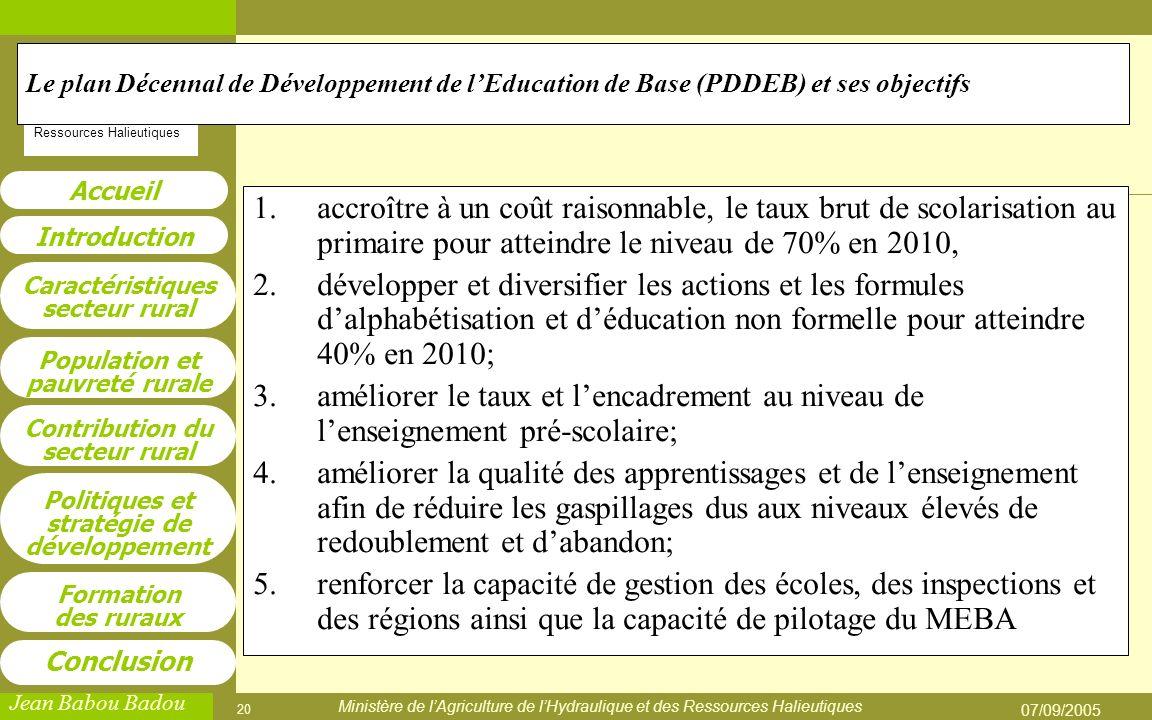 Le plan Décennal de Développement de l'Education de Base (PDDEB) et ses objectifs
